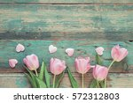 Background With Pink Tulips An...