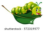 Cute Caterpillar Chewing Green...