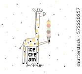 Doodle Giraffe With Ice Cream ...