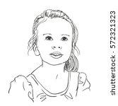 excited little girl  vector... | Shutterstock .eps vector #572321323