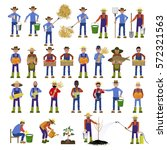 set of vector farmers with... | Shutterstock .eps vector #572321563