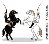 man riding a horse  19th... | Shutterstock .eps vector #572325283