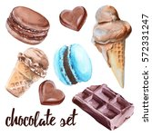 set of chocolate sweets. cake ... | Shutterstock . vector #572331247