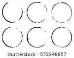 set of six cofee ring stains.... | Shutterstock .eps vector #572348857