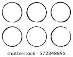 set of six cofee ring stains.... | Shutterstock .eps vector #572348893