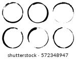 set of six cofee ring stains.... | Shutterstock .eps vector #572348947