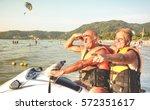 senior happy couple having fun... | Shutterstock . vector #572351617