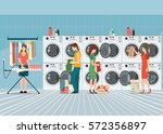 people in laundry room with row ... | Shutterstock .eps vector #572356897