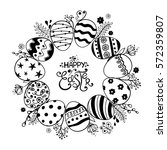 black and white easter greeting ... | Shutterstock .eps vector #572359807