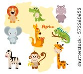 Animals Of Africa. Vector Set...