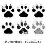 set of paw print. vector...   Shutterstock .eps vector #572361763