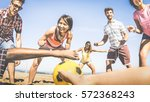 multiracial friends group... | Shutterstock . vector #572368243