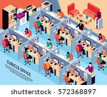 office workplace isometric...