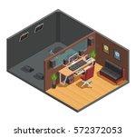 music studio isometric interior ... | Shutterstock .eps vector #572372053
