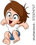 happy kid jumping in the air | Shutterstock .eps vector #572374717