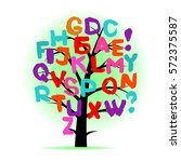 art tree with letters of... | Shutterstock .eps vector #572375587