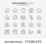 set of real estate and homes... | Shutterstock .eps vector #572381593