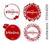 set of vintage valentine's day... | Shutterstock .eps vector #572414053