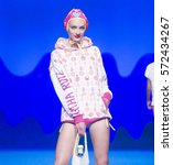 Small photo of MADRID - SEPTEMBER 16: a model walks on the Agatha Ruiz de la Prada catwalk during the Mercedes-Benz Fashion Week Madrid Spring/Summer 2017 runway on September 16, 2016 in Madrid.