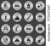 set of 16 editable trip icons.... | Shutterstock . vector #572437687