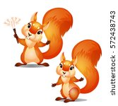 two cute animated squirrels... | Shutterstock .eps vector #572438743