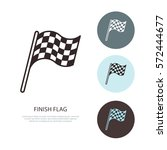 checkered flags vector line... | Shutterstock .eps vector #572444677