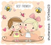 two cute cartoon girls keep for ... | Shutterstock .eps vector #572456623