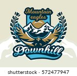 logo  emblem of an eagle flying.... | Shutterstock .eps vector #572477947
