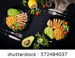 healthy dish with chicken ... | Shutterstock . vector #572484037