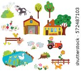 farm life design elements set   ...