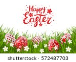 red easter eggs on green grass | Shutterstock .eps vector #572487703