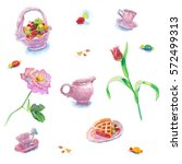 tea pattern with flowers  tulip ... | Shutterstock . vector #572499313