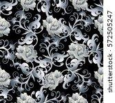 white  roses seamless pattern.... | Shutterstock .eps vector #572505247