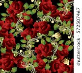 3d Red Roses. Floral Seamless...