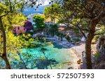 assos village on kefalonia... | Shutterstock . vector #572507593