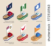 set of isometric 3d ships with... | Shutterstock .eps vector #572510563