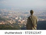 Statue On Tibidabo Hill Over...