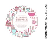 household cleaning supplies... | Shutterstock .eps vector #572513923