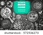 indian cuisine top view frame.... | Shutterstock .eps vector #572536273