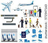 airline working process signs... | Shutterstock .eps vector #572547163