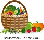 basket with vegetables isolated ... | Shutterstock .eps vector #572549503