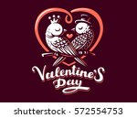 happy valentine day lettering... | Shutterstock .eps vector #572554753