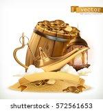treasure. genie lamp and wooden ... | Shutterstock .eps vector #572561653