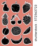 hand drawn fruits stickers | Shutterstock .eps vector #572563723