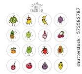 hand drawn doodle emoji fruits... | Shutterstock .eps vector #572583787