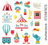 circus and carnival icons... | Shutterstock .eps vector #572587873