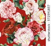 Stock photo seamless floral pattern with roses watercolor 572591857