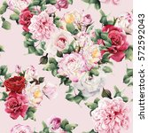 Stock photo seamless floral pattern with roses watercolor 572592043