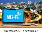 wifi icon on screen desktop and ... | Shutterstock . vector #572593117