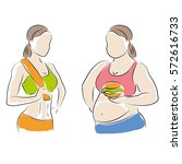 fat and slim woman figure. thin ... | Shutterstock . vector #572616733